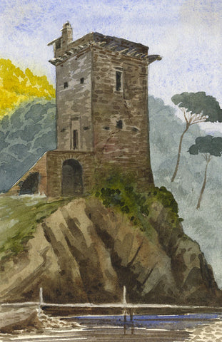 Attrib. Richard Doyle, Stone Tower, Vallecrosia Coast, Italy - 1878 watercolour painting
