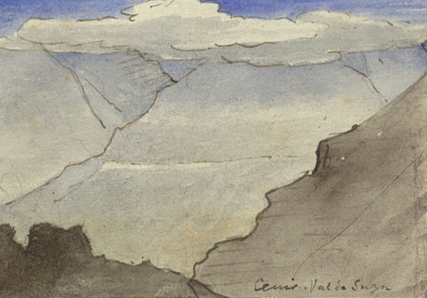 Attrib. Richard Doyle, Mont Cenis, Susa Valley, Italy, Miniature - 1878 watercolour painting