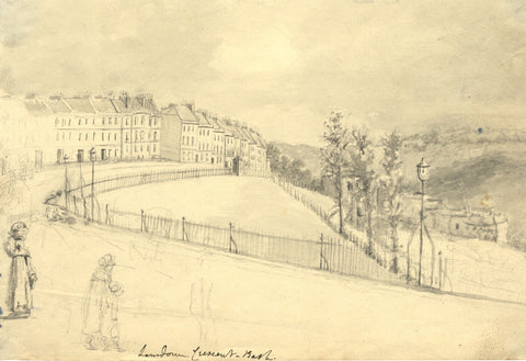 Lansdown Crescent, Bath - Original 19th-century watercolour painting