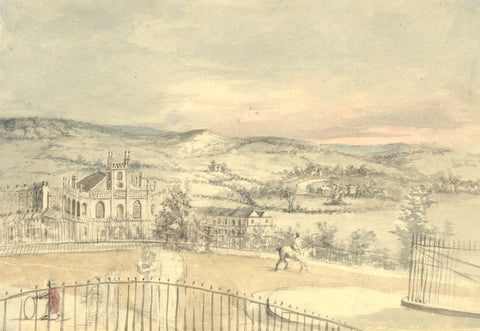 View from Lansdown Crescent, Bath - Original 19th-century watercolour painting