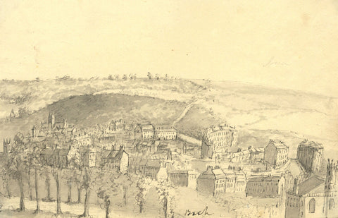 View across Bath - Original early 19th-century watercolour painting