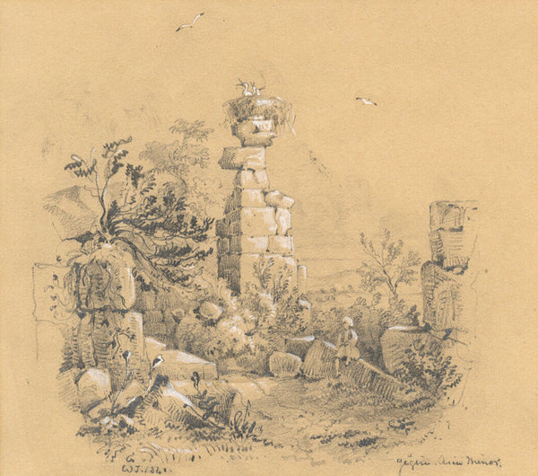 William J. Tipping, Ruins, Asia Minor - Original 1841 graphite drawing
