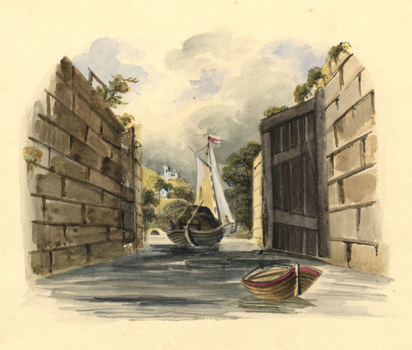 Canal Barge Entering Lock - Original 19th-century watercolour painting