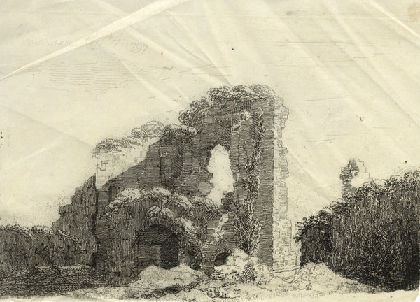 Catherine St Aubyn, Pevensey Castle, East Sussex - Original 1797 engraving print