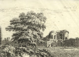 Catherine St Aubyn, Pevensey Castle, East Sussex - Original 1798 engraving print