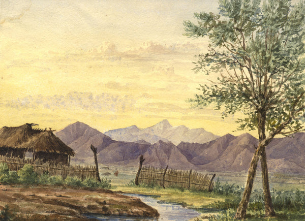 Charlotte Solly, View in Corinth, Greece - 19th-century watercolour painting