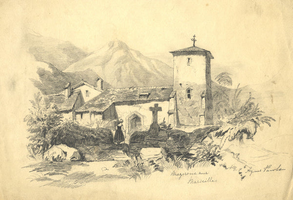 Agnes Pawle, Church near Marseille, France - 19th-century graphite drawing