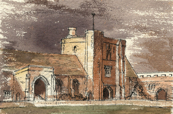 Patrick A  Faulkner Hospital of St Cross Winchester-Mid-20th-century  watercolour