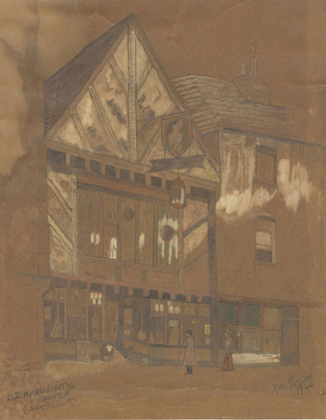 A.W. Taylor, Old Huguenot Weaver's House, Canterbury - 1940 graphite drawing