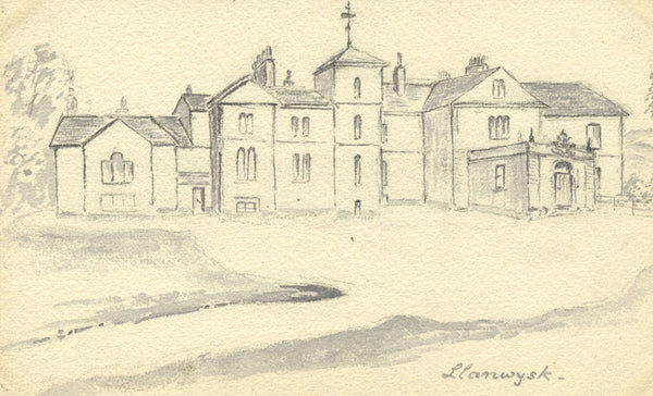 B. Stanton, Manor House, Llanwysk, Wales - Original 1882 graphite drawing