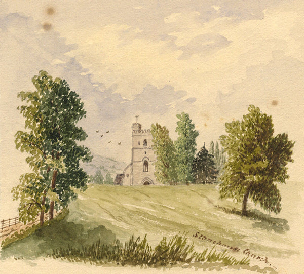 B. Stanton, St Cyr's Church, Stonehouse, Glos -19th-century watercolour painting