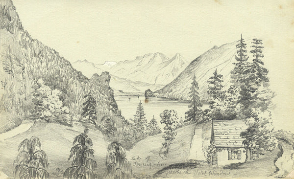 B. Stanton, Lake Brienz, Giesbach, Switzerland - 19th-century graphite drawing