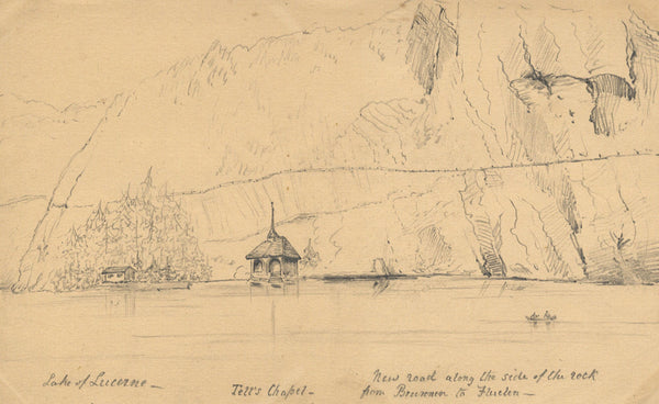 B. Stanton, Tell's Chapel, Lake of Lucerne - 19th-century graphite drawing