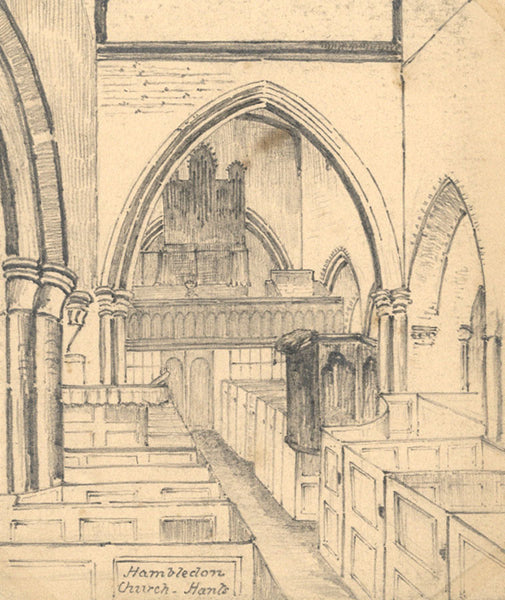 B. Stanton, St Peters Church Interior, Hambledon -19th-century graphite drawing