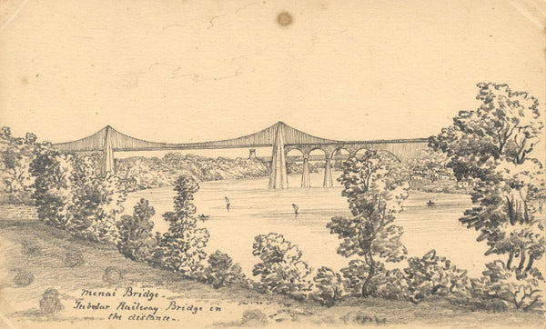 B. Stanton, Menai Suspension Bridge, Anglesey - 19th-century graphite drawing