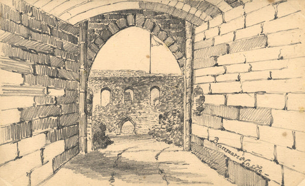 B. Stanton, Beaumaris Castle, Anglesey, Wales - 19th-century graphite drawing
