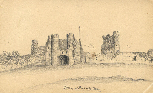 B. Stanton, Pembroke Castle, Wales - Original 19th-century graphite drawing