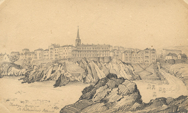 B. Stanton, Tenby from St Catherine's Island - 19th-century graphite drawing