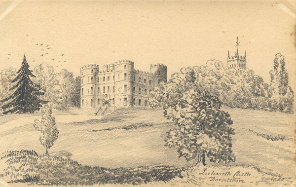 B. Stanton, Lulworth Castle, Dorset - Original 19th-century graphite drawing