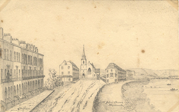 B. Stanton, St John's Church, Weymouth - Original 19th-century graphite drawing