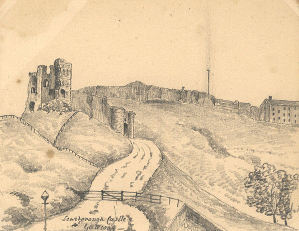 B. Stanton, Scarborough Castle Gateway, N Yorks - 19th-century graphite drawing