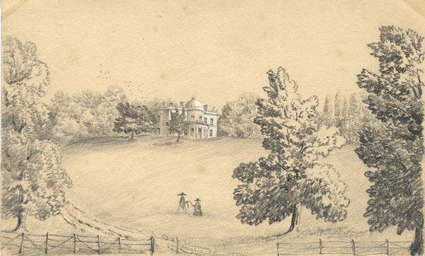 B. Stanton, Greenhill House Sutton Veny Wiltshire -19th-century graphite drawing