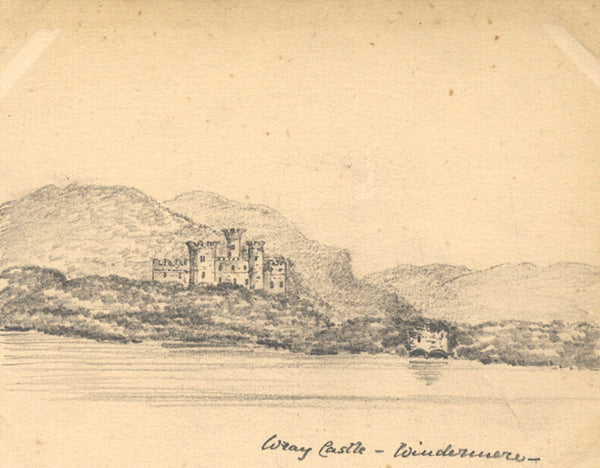 B. Stanton, Wray Castle, Windermere Lake District -19th-century graphite drawing