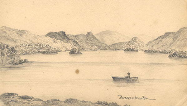 B. Stanton, Derwentwater, Lake District - Original 19th-century graphite drawing