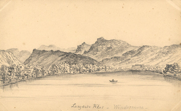 B. Stanton, Langdale Pike Windemere Lake District -19th-century graphite drawing