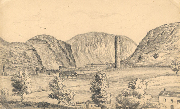 B. Stanton, Seven Churches of Glendalough Wicklow -19th-century graphite drawing