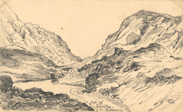 B. Stanton, Gap of Dunloe, Killarney, Ireland - 19th-century graphite drawing