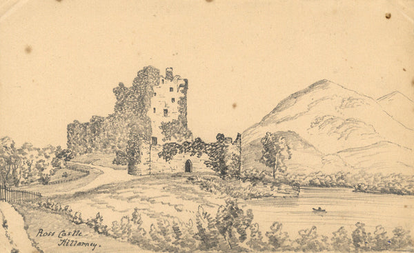 B. Stanton, Ross Castle, Killarney, Ireland - 19th-century graphite drawing