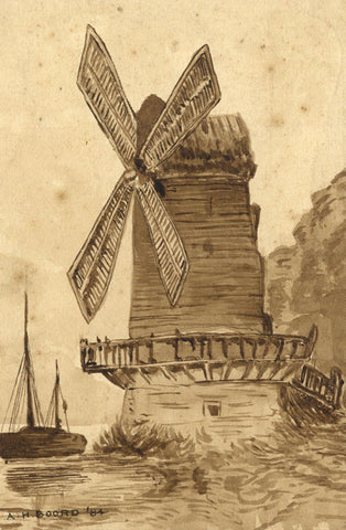 A.H. Boord, Windmill by Sea in Sepia - Original 1884 watercolour painting
