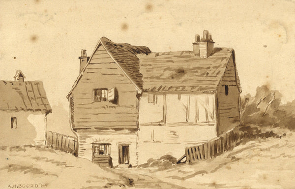 A.H. Boord, Tudor Cottage in Sepia - Original 1884 watercolour painting
