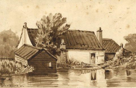 A.H. Boord, Cottage by River, Berkhamsted - Original 1884 watercolour painting