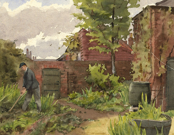 A.K. Rudd, Gardener Tending his Plants - Original 1899 watercolour painting
