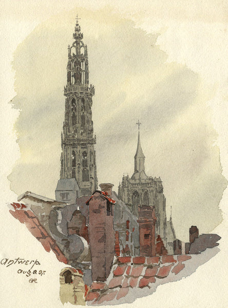A.K. Rudd, Antwerp Cathedral, Belgium - Original 1897 watercolour painting