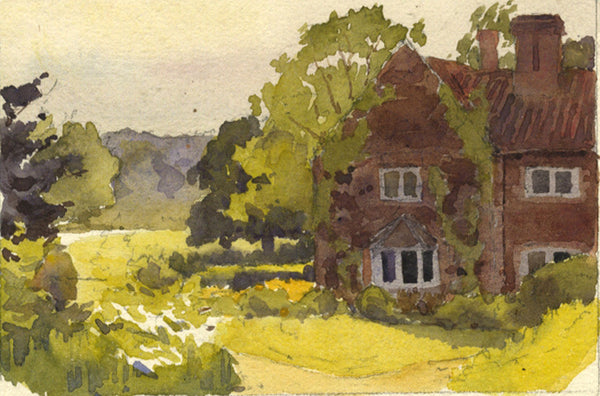 A.K. Rudd, House & Garden View - Original late 19th-century watercolour painting