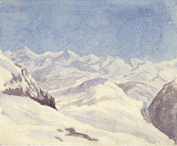 A.K. Rudd, Snowy Mountain Peaks -Original late 19th-century watercolour painting