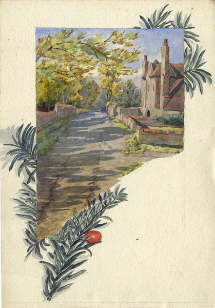 A.K. Rudd, Country Road with Decorative Border - Late 19th-century watercolour