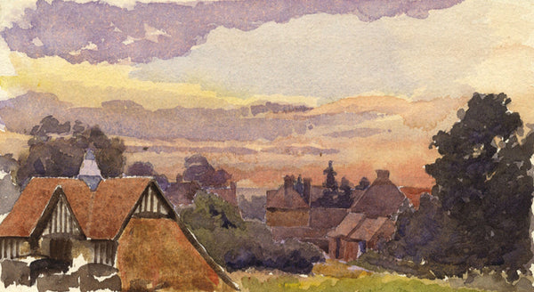A.K. Rudd, Sunset Skies over Rooftops - Late 19th-century watercolour painting