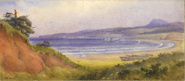 A.K. Rudd, Coastal Bay View - Original 1902 watercolour painting