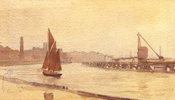A.K. Rudd, Sailing Boat off Port Harbour -Late 19th-century watercolour painting