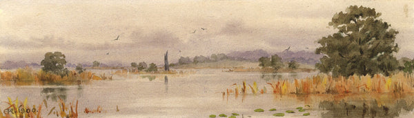 A.K. Rudd, On the Norfolk Broads - Original 1900 watercolour painting