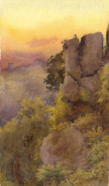 A.K. Rudd, Sunset Gorge View - Original late 19th-century watercolour painting