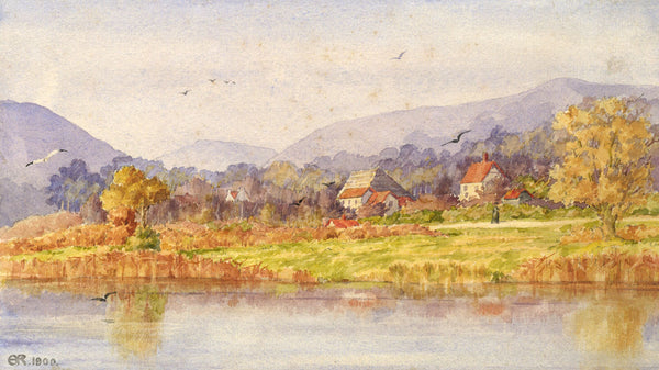 A.K. Rudd, Mountain River with Figure - Original 1900 watercolour painting