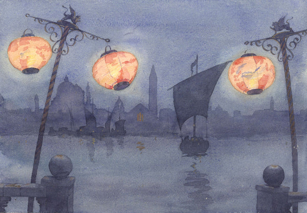 A.K. Rudd, Venice at Dusk - Original late 19th-century watercolour painting