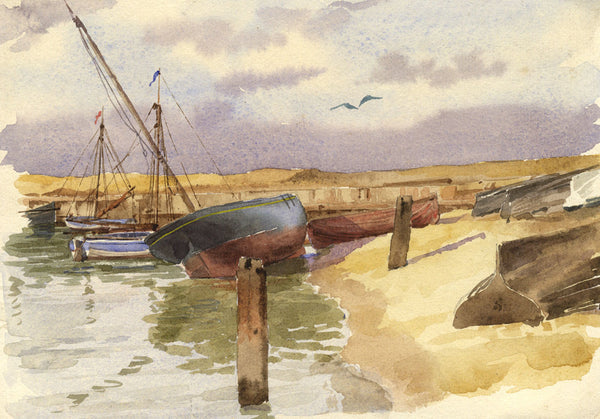 A.K. Rudd, Moored Boats by Beach - Late 19th-century watercolour painting