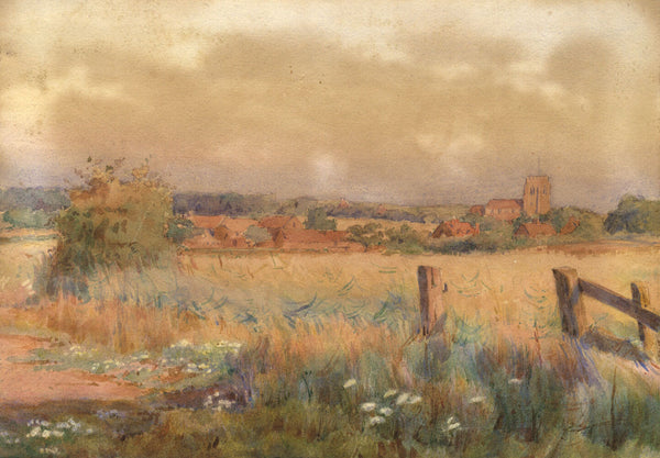 A.K. Rudd, Village View over Fields - Late 19th-century watercolour painting