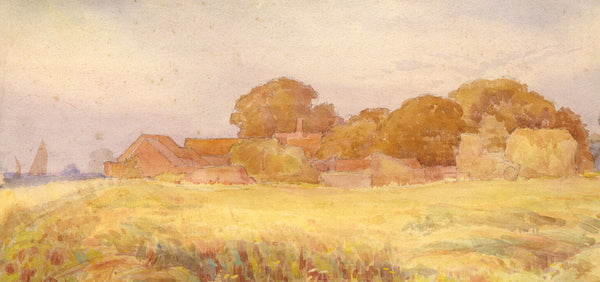 A.K. Rudd, Farmland by the Sea - Original late 19th-century watercolour painting